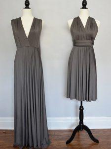 Grey V-neck Neckline Ruching Vestidos de Damas Sleeveless Lace Up