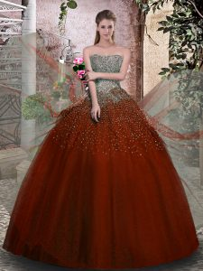 Fitting Rust Red Tulle Lace Up 15 Quinceanera Dress Sleeveless Floor Length Beading
