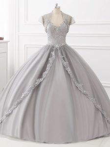 Beauteous Beading and Appliques Sweet 16 Dresses Grey Lace Up Sleeveless Floor Length