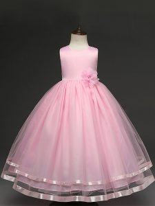 Floor Length Zipper Little Girls Pageant Dress Baby Pink for Wedding Party with Hand Made Flower