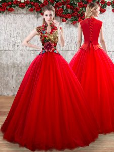 Fabulous Red Lace Up High-neck Appliques Vestidos de Quinceanera Organza Short Sleeves