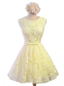 Nice Yellow Lace Lace Up Quinceanera Court of Honor Dress Sleeveless Knee Length Belt