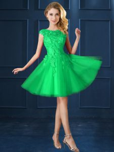 Green Cap Sleeves Tulle Lace Up Vestidos de Damas for Prom and Party