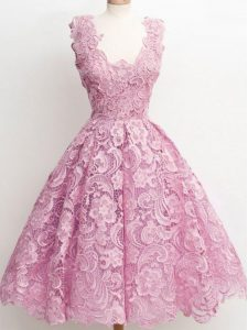 A-line Quinceanera Court of Honor Dress Lilac Straps Lace Sleeveless Knee Length Zipper