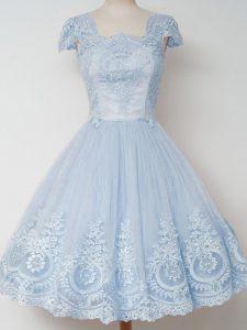 Fancy Knee Length A-line Cap Sleeves Light Blue Court Dresses for Sweet 16 Zipper