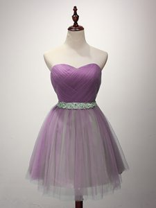 Simple Mini Length Lilac Damas Dress Sweetheart Sleeveless Lace Up