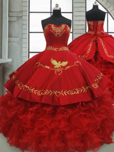 Brush Train Ball Gowns 15th Birthday Dress Wine Red Sweetheart Satin and Organza Sleeveless Lace Up