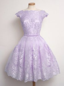 Cheap Scalloped Cap Sleeves Lace Up Quinceanera Court of Honor Dress Lavender Lace