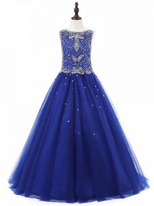 High Quality Royal Blue Sleeveless Floor Length Beading Lace Up Kids Formal Wear