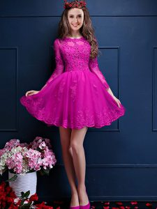 Mini Length Lace Up Quinceanera Court Dresses Fuchsia for Prom and Party with Beading and Lace and Appliques