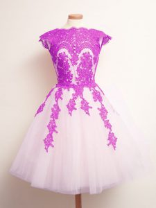 Multi-color Scalloped Lace Up Appliques Dama Dress for Quinceanera Sleeveless