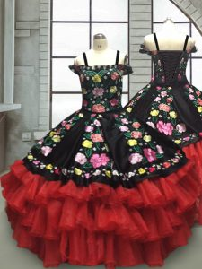 Red And Black Lace Up Off The Shoulder Embroidery and Ruffled Layers Little Girls Pageant Dress Organza Sleeveless