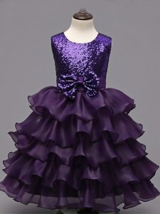 Organza Scoop Sleeveless Zipper Ruffled Layers and Sequins Child Pageant Dress in Dark Purple