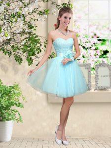 Knee Length A-line Sleeveless Aqua Blue Dama Dress for Quinceanera Lace Up