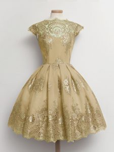 Stylish Brown Quinceanera Court of Honor Dress Prom and Party and Wedding Party with Lace Scalloped Cap Sleeves Lace Up
