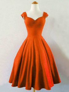 Rust Red Dama Dress for Quinceanera Prom and Party and Wedding Party with Ruching Straps Sleeveless Lace Up