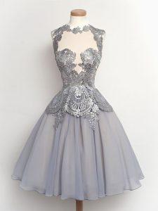 Clearance Grey High-neck Neckline Lace Vestidos de Damas Sleeveless Lace Up