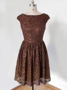 High Class Brown Scoop Lace Up Lace Quinceanera Court of Honor Dress Cap Sleeves