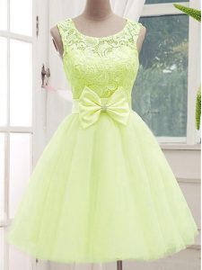 Yellow Green A-line Lace and Bowknot Court Dresses for Sweet 16 Lace Up Tulle Sleeveless Knee Length