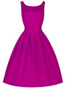High Class Fuchsia A-line Scoop Sleeveless Taffeta Knee Length Lace Up Ruching Vestidos de Damas