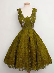 Suitable Olive Green A-line Lace Court Dresses for Sweet 16 Lace Up Lace Sleeveless Knee Length