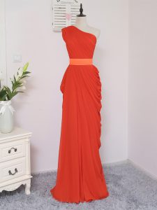 Glorious Coral Red One Shoulder Neckline Pick Ups Dama Dress Sleeveless Zipper