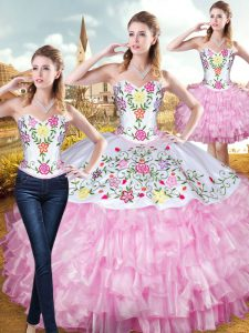 Sweetheart Sleeveless Lace Up Quinceanera Dresses Rose Pink Organza and Taffeta