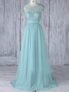 Aqua Blue Scoop Neckline Lace Dama Dress Cap Sleeves Backless
