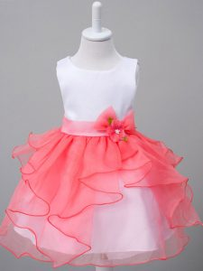 Custom Made White And Red Sleeveless Organza Zipper Kids Pageant Dress for Wedding Party