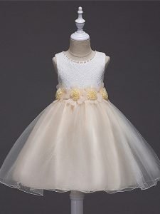 Champagne Ball Gowns Scoop Sleeveless Tulle Knee Length Zipper Lace and Hand Made Flower Little Girls Pageant Gowns
