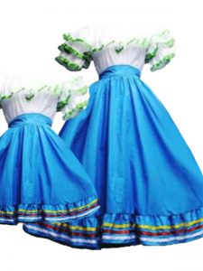 Baby Blue Taffeta Lace Up Sweet 16 Dresses Short Sleeves Floor Length Pick Ups