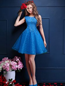 Tulle Sleeveless Knee Length Vestidos de Damas and Beading and Lace