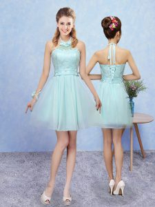 Halter Top Sleeveless Tulle Quinceanera Dama Dress Lace Lace Up