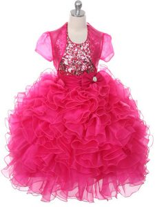 Inexpensive Scoop Sleeveless Little Girls Pageant Dress Wholesale Floor Length Ruffles and Sequins and Bowknot Hot Pink Organza