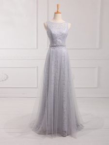 Grey Sleeveless Tulle and Lace Brush Train Zipper Dama Dress for Prom and Party and Wedding Party