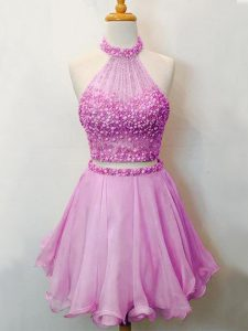 Dazzling Sleeveless Knee Length Beading Lace Up Quinceanera Court of Honor Dress with Lilac