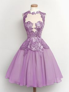 998f632db82 Fitting Lilac Chiffon Lace Up High-neck Sleeveless Knee Length Quinceanera Dama  Dress Lace