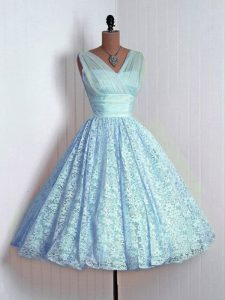 Baby Blue Lace Lace Up Dama Dress for Quinceanera Sleeveless Mini Length Lace