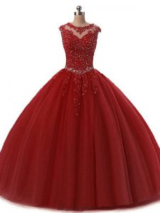 Burgundy Tulle Lace Up Quinceanera Gowns Sleeveless Floor Length Beading and Lace