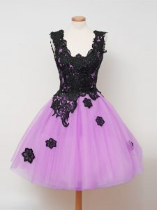 Sexy Knee Length Lilac Damas Dress Tulle Sleeveless Appliques