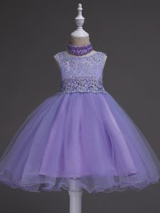 Knee Length Zipper Little Girls Pageant Gowns Lavender for Wedding Party with Beading and Lace
