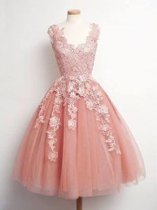 Colorful Peach Ball Gowns Tulle V-neck Sleeveless Lace Knee Length Lace Up Quinceanera Dama Dress