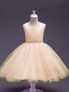 Adorable Peach Sleeveless Knee Length Beading Zipper Little Girl Pageant Gowns
