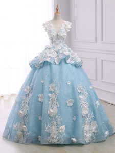 On Sale Light Blue Sleeveless Court Train Appliques Quinceanera Gowns