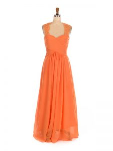 Orange Red Empire Chiffon Straps Sleeveless Lace Floor Length Lace Up Quinceanera Court of Honor Dress