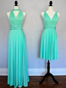 Nice Chiffon V-neck Sleeveless Lace Up Ruching Vestidos de Damas in Turquoise