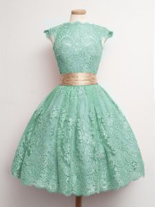 Dramatic Cap Sleeves Belt Lace Up Quinceanera Court Dresses