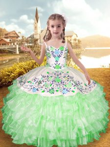 Straps Sleeveless Pageant Gowns For Girls Floor Length Embroidery and Ruffled Layers Apple Green Organza and Taffeta