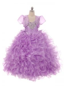 Simple Sleeveless Organza Floor Length Lace Up Little Girls Pageant Gowns in Eggplant Purple with Beading and Ruffles