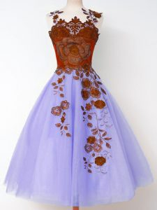 Lavender Sleeveless Knee Length Appliques Lace Up Quinceanera Court of Honor Dress